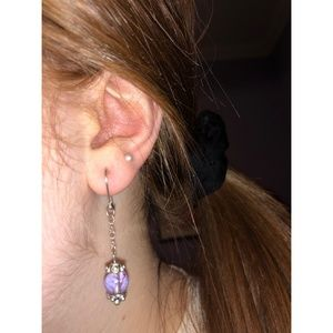 Jewelry - Lavender Stone Dangle Silver Lever Clasp Earrings